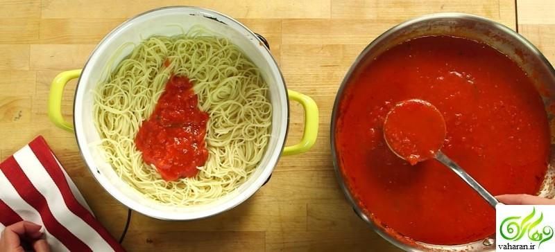 دستور تهیه کوفته شکم پر با اسپاگتی
