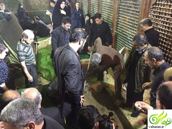 عکس حضور روحانی بر قبر رفسنجانی امروز ۲۴ دی ۹۵