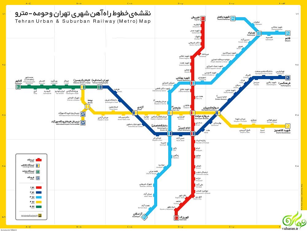 نقشه جدید خطوط متروی تهران + جزییات کامل نقشه