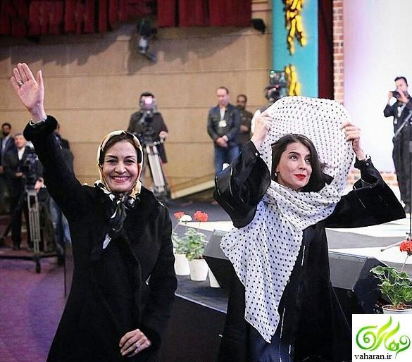 افتادن شال از سر لیلا حاتمی در اختتامیه جشنواره فجر 95 + عکس