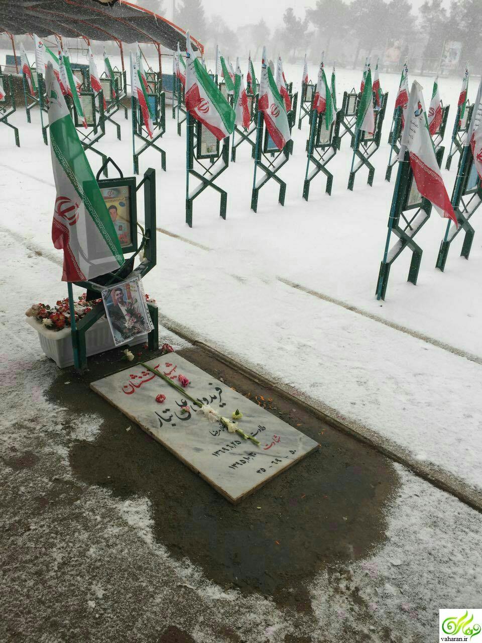 عکس غم انگیز قبر یکی از شهیدان آتش نشان حادثه پلاسکو را ببینید