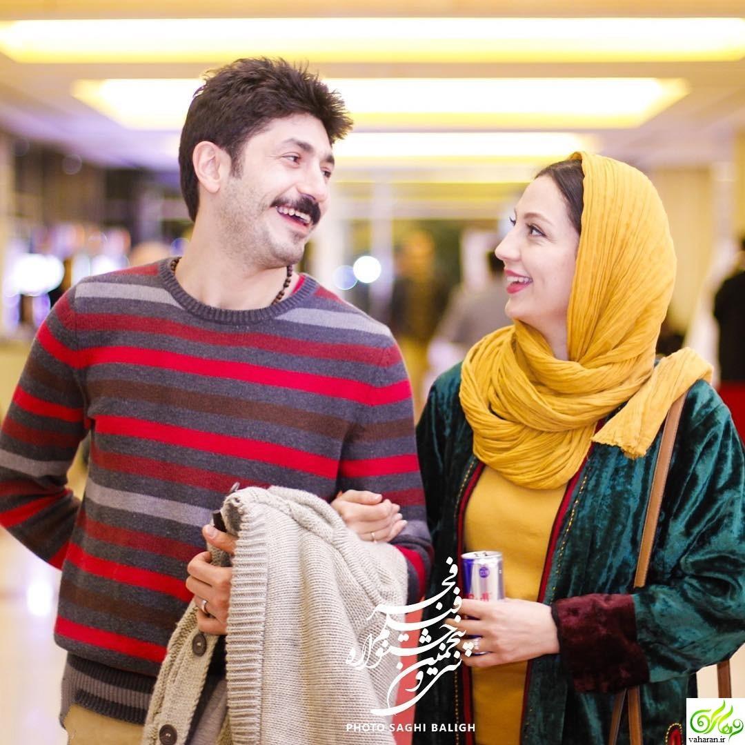 عکس های حدیث میرامینی در جشنواره فجر 95 به همراه همسرش مجتبی رجبی