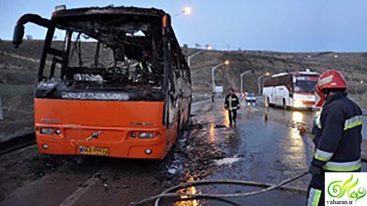 آتش گرفتن اتوبوس ولوو در آزاد راه تهران - قم + عکس