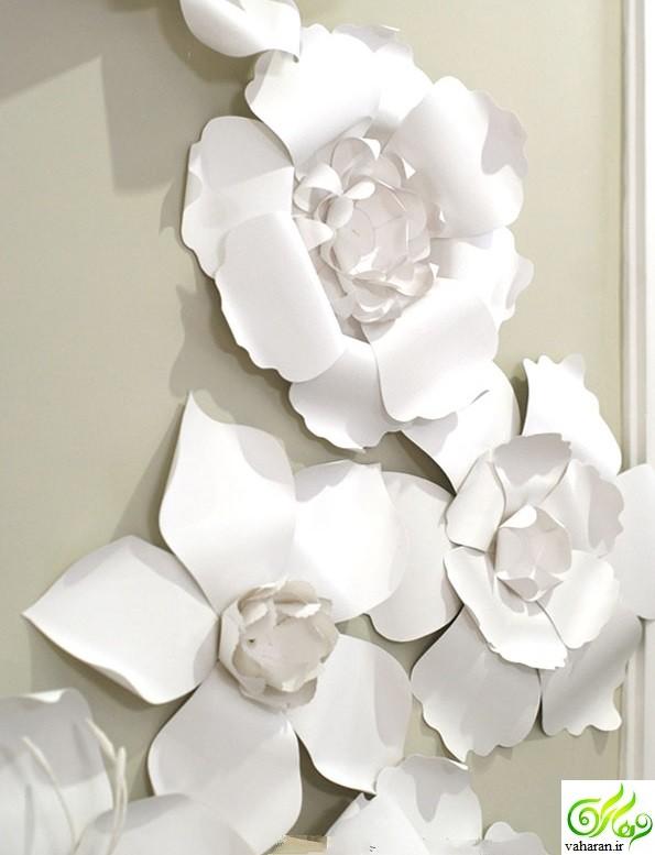 آموزش ساخت گلهای کاغذی سفید برای دکوراسیون اتاق پذیرایی نوروز 96