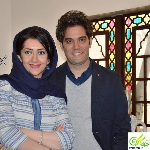 بوسه امیرعلی نبویان بر دستان همسرش در مراسم رونمایی از کتاب صوتی شهر غصه + عکس