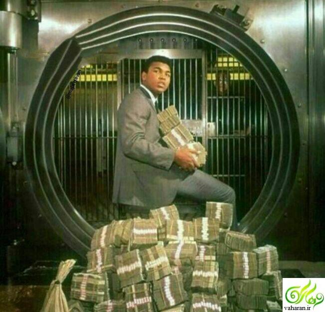 عکس محمدعلی کلی و پول های حاصل از یک مسابقه اش!