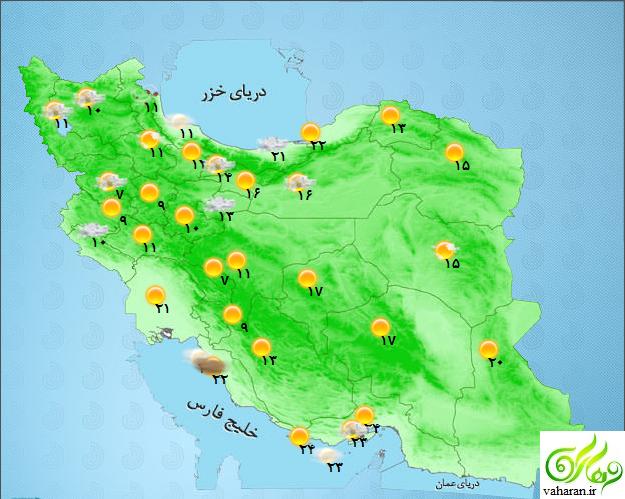 هواشناسی روز سه شنبه 8 فروردین 96 به تفکیک استانها + جدول