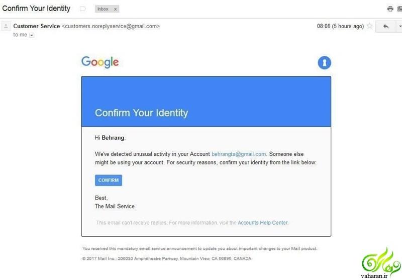 هک شدن جیمیل : اگر چنین ایمیلی دریافت کردید، کلیک نکنید!