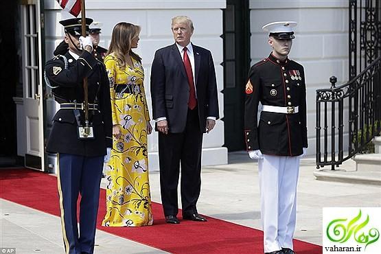 طرح جالب لباس ملانیا ترامپ در دیدار با نخست وزیر هند / عکس