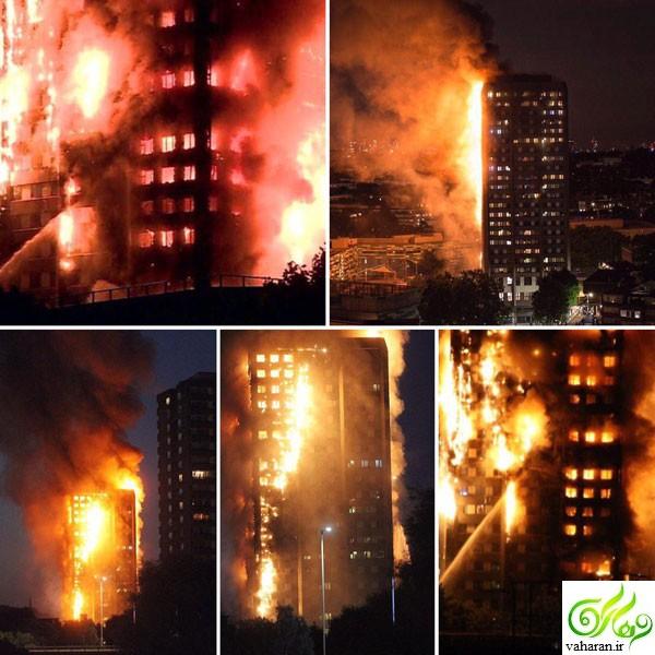 عکس های آتش سوزی برج مسلمان نشین در لندن + جزییات
